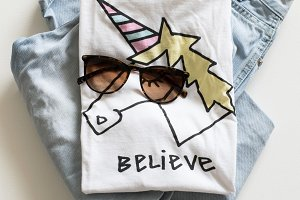 Fashionable clothes with unicorn