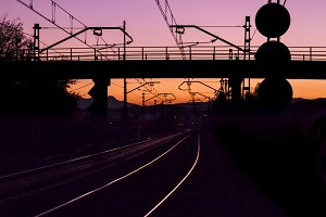 Railroad tracks and dawn dusk