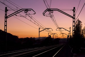 Railroad tracks and dawn dusk