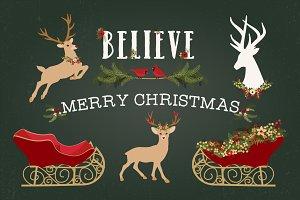 Christmas Deer, Sleigh & Antlers