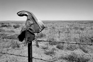 Old Boot On Grassland Fence
