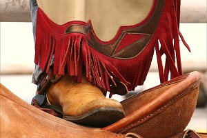 Rodeo Boot On Saddle