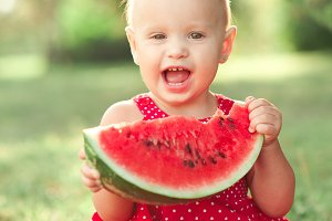 Baby with melon