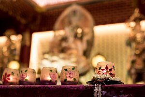 Candle in Buddhist Altar