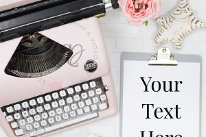 Pink Typewriter Styled Stock Photo
