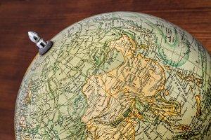 Old world globe: Asia, China