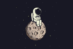 Cute astronaut on moon