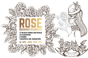 Roses outline sketches