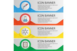 Chemical lab banner templates set