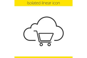 Buy cloud storage space linear icon