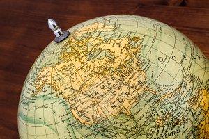 Old world globe: North America