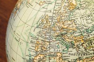 Old world globe: Europe