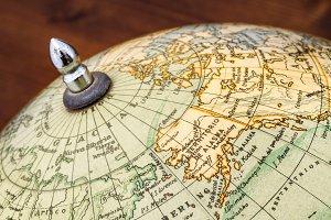 Old world globe: Alaska