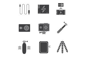 Action camera glyph icons set