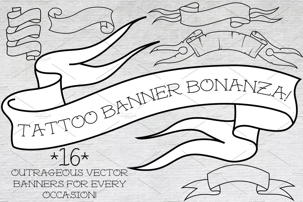 Tattoo Banner Bonanza Pre Designed Illustrator Graphics Creative Market