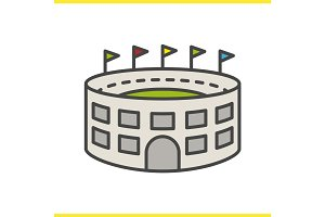 Stadium building color icon