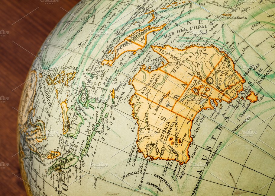 50 beautiful vintage maps for all your retro designs creative old world globe australia gumiabroncs Gallery