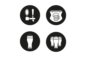 Beer pub icons set