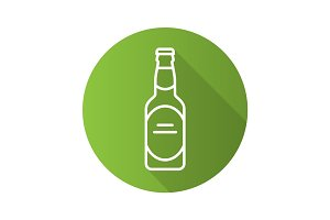 Beer bottle flat linear long shadow icon