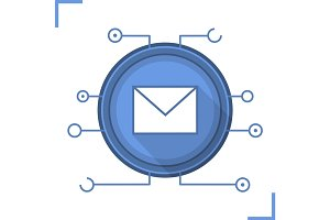 Email security flat design long shadow icon