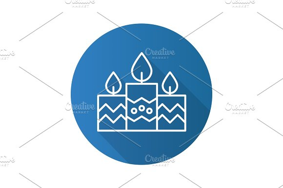 Church Candles Flat Linear Long Shadow Icon
