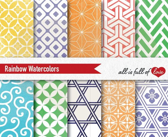 Rainbow Watercolor Patterns To Print