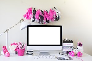 Hot Pink Styled Stock Mac Mockup