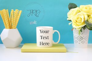 Yellow & Blue Mug Styled Stock Photo