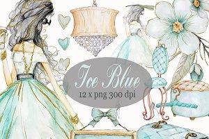 Ice Blue, Mint Fashion Illustration
