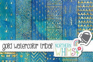 Blue Watercolor Tribal Patterns