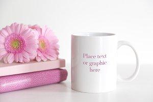 Pink Gerberas White Mug Mockup