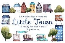Little Town - Watercolor Clip Art
