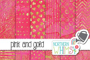 Pink and Gold Watercolor Patterns