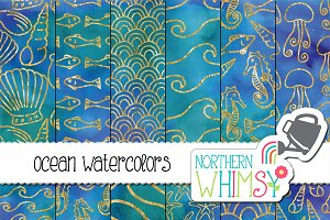Watercolor Ocean Patterns