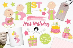 First Birthday illustration pack