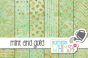 Mint and Gold Watercolor Patterns