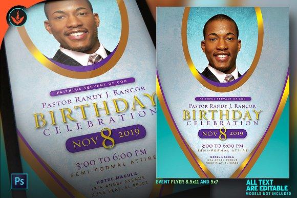royal pastor birthday flyer program flyer templates creative market