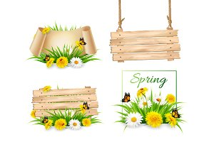 Set of spring nature banners