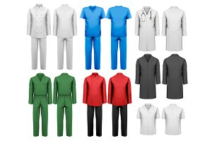 Set of colorful work clothes