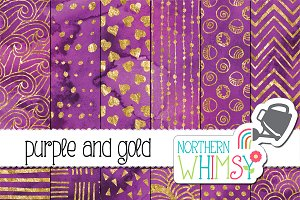 Purple and Gold Watercolor Patterns