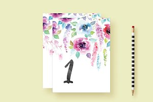 Waterfall Watercolor Table Numbers