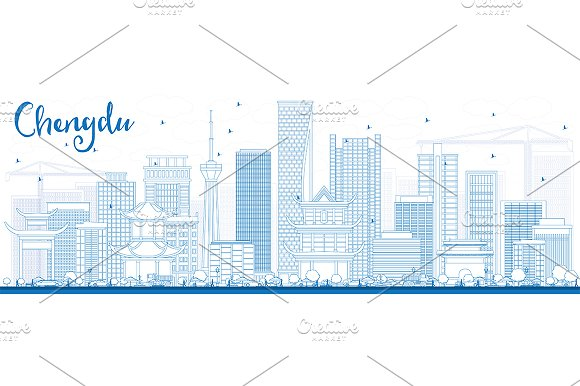 Outline Chengdu Skyline