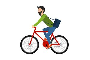 Man cyclist rides a bicycle