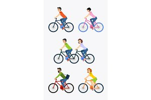 Set of cyclists riding bike