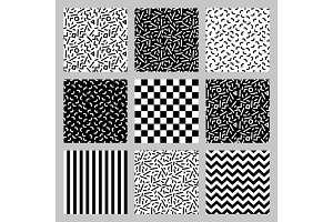 Cute set of seamless geometric patterns in 80's style