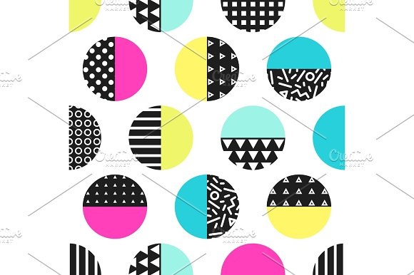 Cute 80's Style Seamless Geometric Pattern With Circles