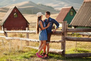 couple travel at countryside