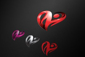 Heart Abstract 3D Love Logo
