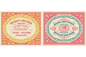Retro cards set with engraving and  floral details. Organized by