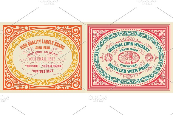 Retro Cards Set With Engraving And Floral Details Organized By